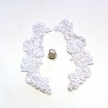 White and Pearl Beaded Corded Lace Bridal Applique x 2